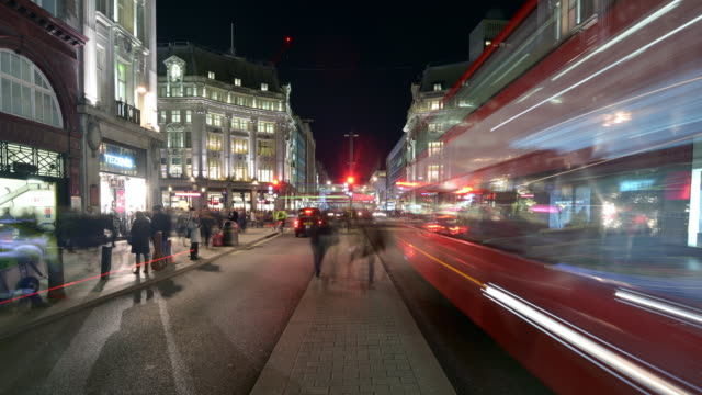 Evening view of Oxford Circus and Oxford Street from the central island reservation