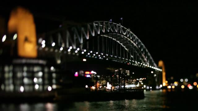 Evening view of Sydney Harbor Bridge from below