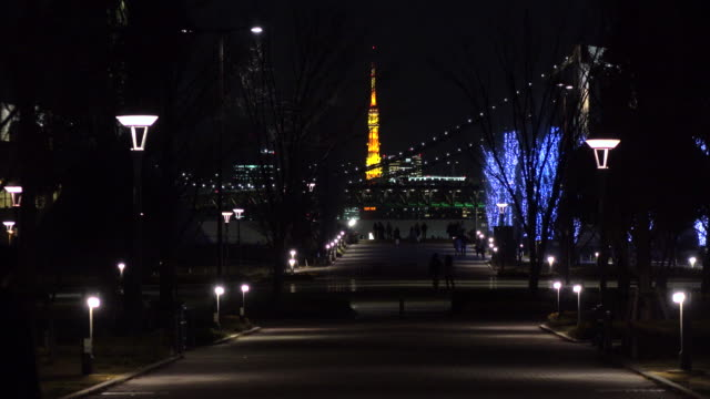 evening view of tokyo tower -4k- - plusphoto stock videos & royalty-free footage
