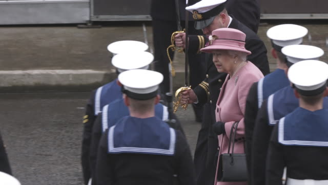 Event Capsule Her Majesty The Queen visits Plymouth for the decommissioning ceremony for HMS Ocean at Devonport Naval Base on March 27 2018 in...