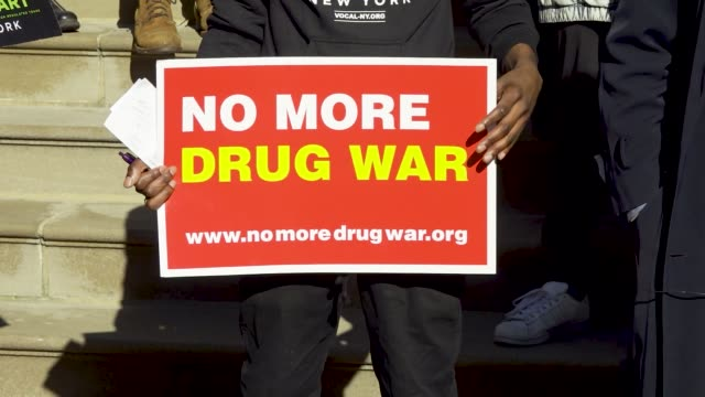event organized by voices of community activists & leaders . rally on the steps of city hall in support of the marijuana taxation & regulation act in... - narcotic stock videos & royalty-free footage