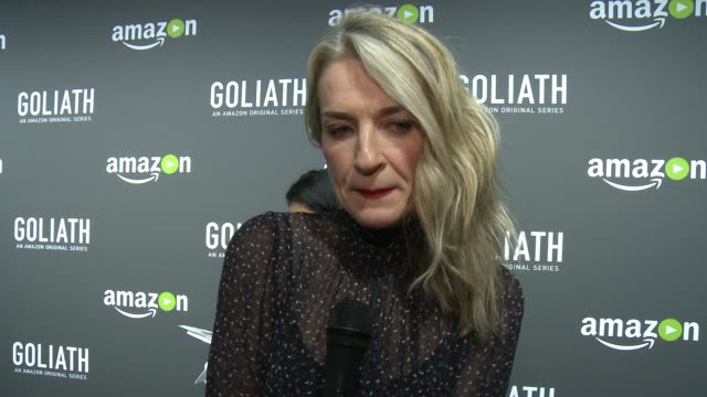 interview ever carradine on what goliath is about on her character on what people can expect from the show on the city of los angeles being in the... - ever carradine stock videos & royalty-free footage