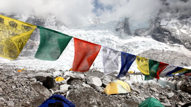 everest prayer flags - base camp stock videos & royalty-free footage