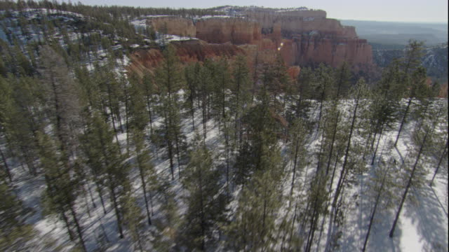 Evergreen forests grow above and below the limestone pinnacles of Bryce Canyon, Utah. Available in HD.