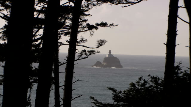 evergreens frame a lighthouse perched on a rock outcrop offshore on the oregon coast. - outcrop stock videos & royalty-free footage