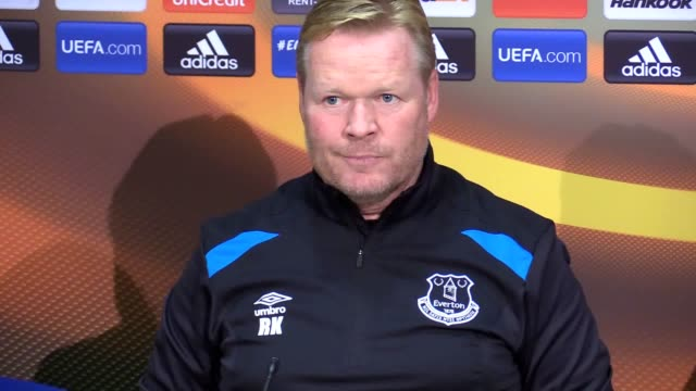 Everton manager Ronald Koeman gives a press conference ahead of the team's Europea League match against Lyon and discusses Memphis Depay's time at...