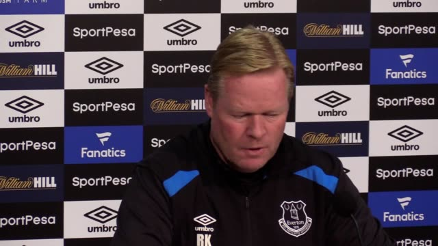 Everton manager Ronald Koeman gives press conference and comments on Wayne Rooney's drinkdriving charge but says he will play in upcoming match...