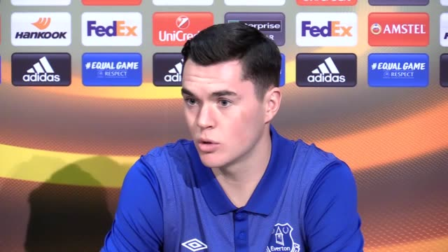 Everton's preLyon press conference with manager Ronald Koeman and defender Michael Keane