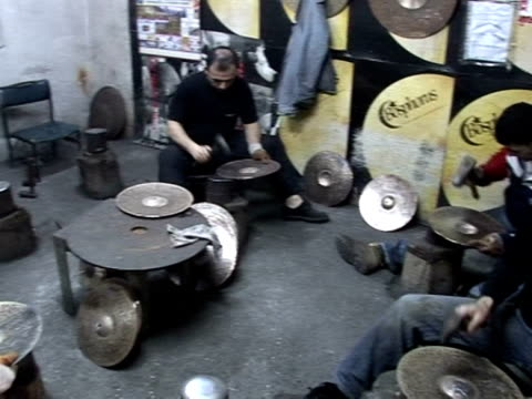 turkey is the home of the cymbal the foundations of the handmade cymbal dates back nearly four centuries it's a tradition that continues to this day... - cymbal stock videos and b-roll footage