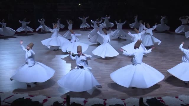 every year the city of konya in turkey organises the whirling dervishes festival to commemorate the death of jalal al din rumi on the 17th of december - konya stock videos and b-roll footage