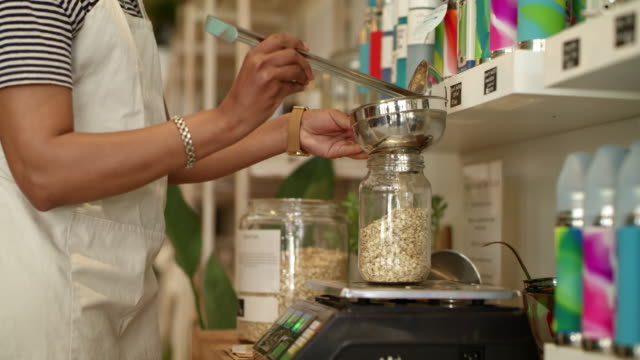 everything is fresh in this shop, no pre packed goods - cereal stock videos & royalty-free footage