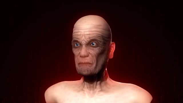 evil smiling aged bald person - human head stock videos & royalty-free footage