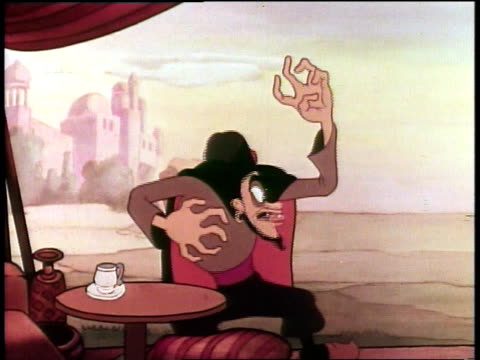 1939 cartoon evil sorcerer choking on drink, popeye as aladdin riding horse to castle and singing - aladdin and the magic lamp stock videos & royalty-free footage