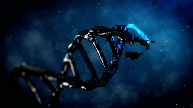 4k- blue evolution dna  - stock video - helix model stock videos and b-roll footage