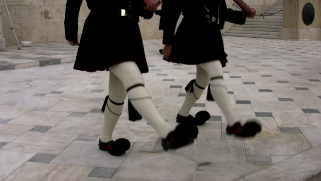 evzones marching in change of guard ceremony, athens, greece - athens greece stock videos & royalty-free footage