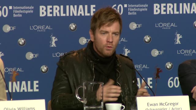 Ewan McGreggor on Roman Polanski and his directing technique Ewan does an impression of Polanski at the The Ghost Writer Press Conference 60th Berlin...
