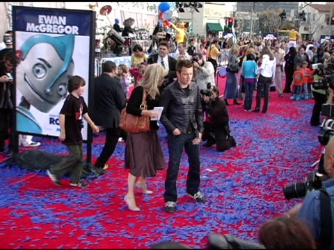 ewan mcgregor at the 'robots' world premiere at the mann village theatre in westwood california on march 6 2005 - westwood neighborhood los angeles stock videos & royalty-free footage