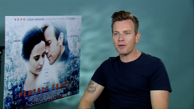 Ewan McGregor on Eva Green being a strong woman her character why she's angry and serious and more at the Perfect Sense Interviews at London England