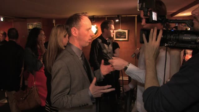 ewen bremner is interviewed by news crews at the uk premiere of perfect sense ewen bremner at the curzon mayfair on october 04 2011 in london england - ewen bremner stock videos & royalty-free footage
