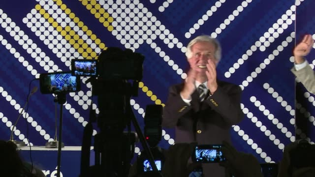 vídeos de stock, filmes e b-roll de ex president tabare vazquez won uruguays presidential runoff sunday extending the lefts decade long hold on power though not necessarily his... - ex