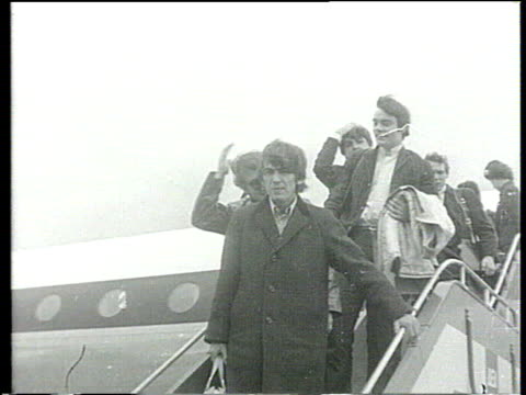 october in 1962 the beatles release their first single love me do lib london heathrow airport the beatles from aircraft after tour of scandanavia... - 1962 stock-videos und b-roll-filmmaterial