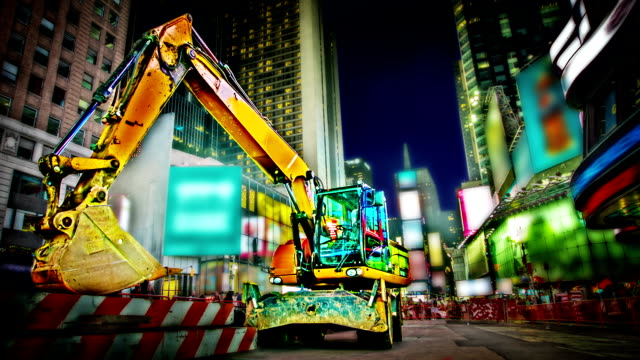 excavator at time square - digging stock videos and b-roll footage
