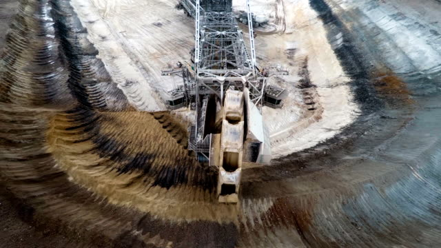 aerial : excavator in brown coal surface mine - surface mine stock videos and b-roll footage