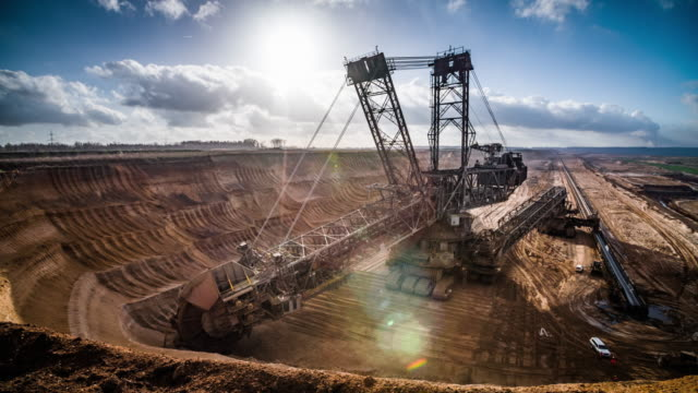 excavator in lignite surface mine - open cast mine stock videos & royalty-free footage