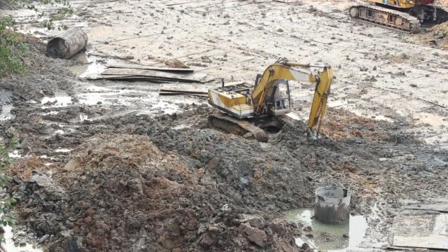 excavator machine woking at construction site