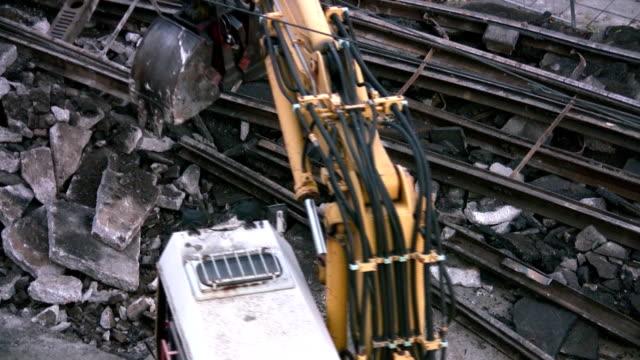 excavator working - railway track stock videos & royalty-free footage