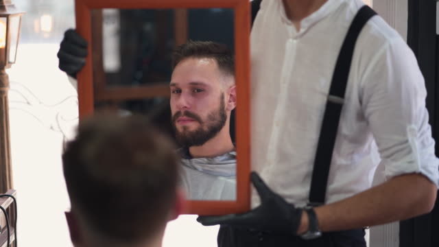 excellent barber, satisfacted customer - suspenders stock videos and b-roll footage