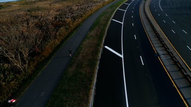 Excercise on Jones Beach, Wantagh State Parkway bike path aerial view