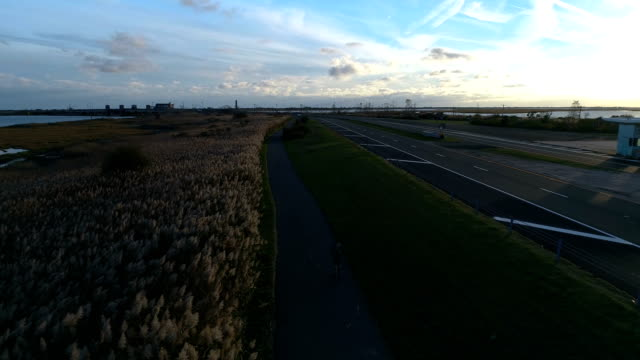 excercise on jones beach, wantagh state parkway bike path aerial view - nassau stock videos & royalty-free footage