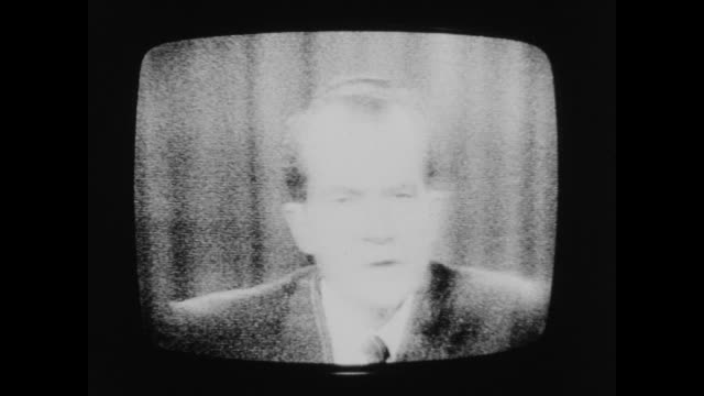 vídeos de stock e filmes b-roll de excerpt of nixon's speech on cambodia, he speaks of the need for the nation to respond to 'forces of totalitarianism and anarchy'. - camboja