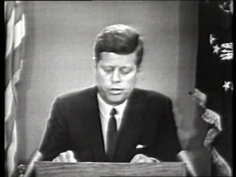 excerpt of president john f kennedy delivering a national address regarding the commission of the national guard to ensure the enrollment of two... - national guard stock videos and b-roll footage