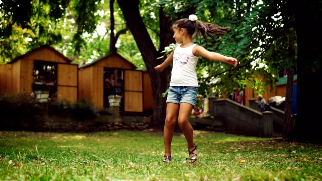 excited girl turning around - one teenage girl only stock videos & royalty-free footage