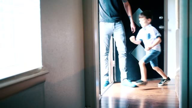 excited little boy runs outside to play - front doorway stock videos & royalty-free footage