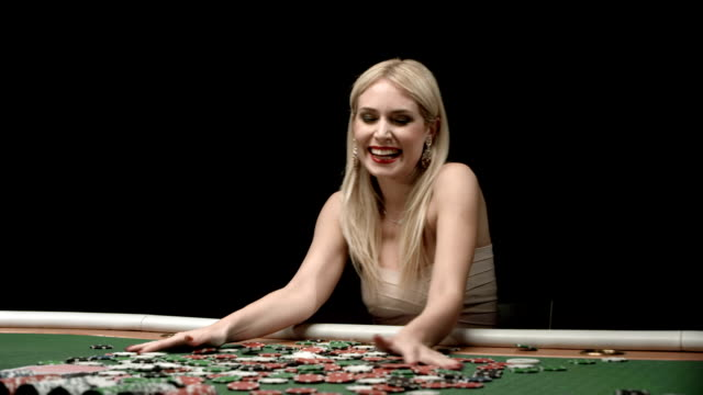 hd dolly: excited woman throwing gambling chips - casino cards stock videos & royalty-free footage