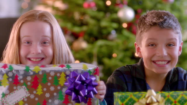 excited young boy and girl show off presents to camera in front of christmas tree (dolly-shot) - christmas present stock videos and b-roll footage