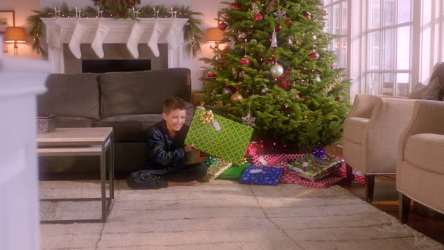 excited young boy shakes present intently in front of christmas tree (dolly-shot) - stockings stock videos & royalty-free footage