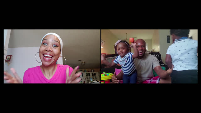 excited young family spends time together via video call - toddler stock videos & royalty-free footage