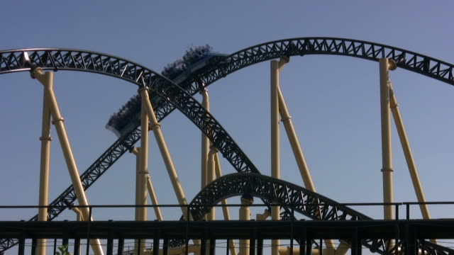 excitement rollercoaster loopable - rollercoaster stock videos & royalty-free footage