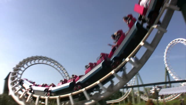 excitement  rollercoaster - rollercoaster stock videos & royalty-free footage