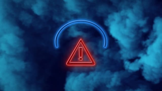 vídeos de stock e filmes b-roll de exclamation point in road sign symbol on neon light against blue background in 4k resolution - ponto de exclamação
