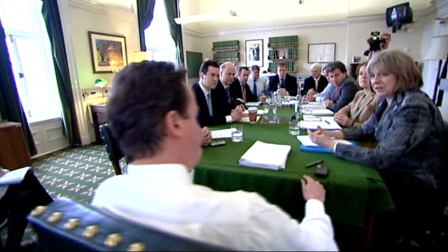 stockvideo's en b-roll-footage met exclusive access to david cameron with his family / david cameron interview on parental leave various shots of cameron chairing shadow cabinet... - william hague
