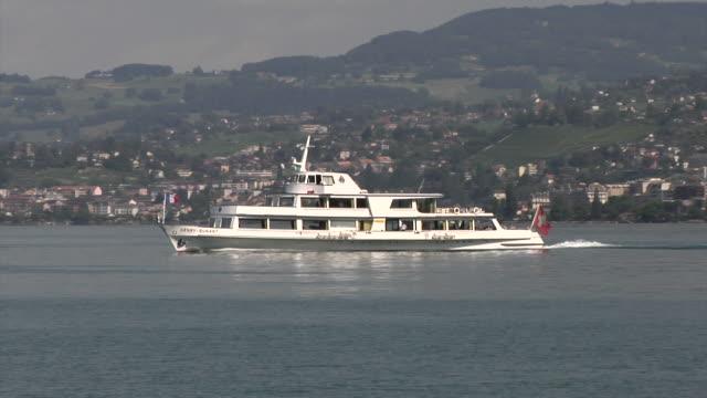 excursion boat on lake geneva near montreux - montreux stock videos & royalty-free footage