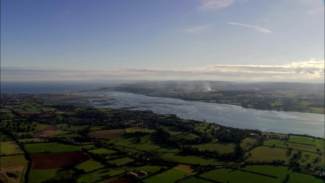 exe estuary  - aerial view - england, devon, east devon district, united kingdom - devon stock videos and b-roll footage