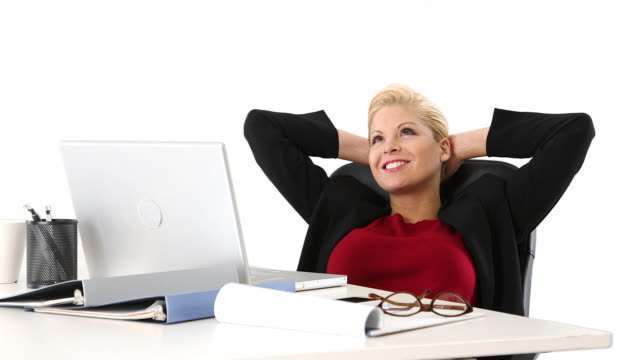 executive businesswoman relaxing at desk - formal businesswear stock videos & royalty-free footage