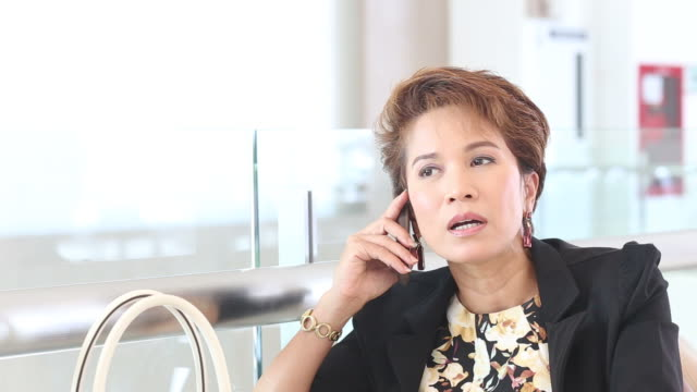 executive businesswoman talking  smartphone