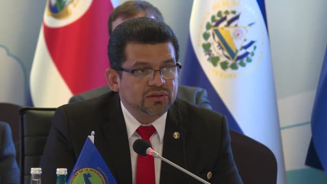 executive director of the second turkeycentral american integration system werner isaac vargas torres delivers a speech during the 2nd turkeycentral... - executive director stock videos & royalty-free footage